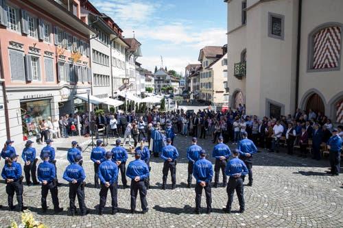 Impression der öffentlichen Vereidigungsfeier auf dem Rathausplatz in Sursee. (Bild: Manuela Jans-Koch, 24. Mai 2018)