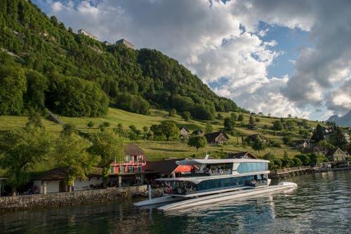 Das neue Motorschiff Bürgenstock unternahm am Donnerstag seine Jungfernfahrt. (Bild: Dominik Wunderli (Luzern, 24. Mai 2018))