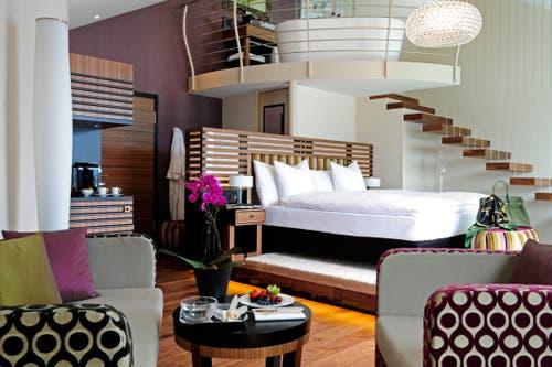 Penthouse Spa Suite über zwei Etagen. Sie hat Terrasse und Whirlpool. Bild:PD