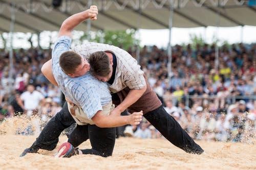 Philipp Gloggner (rechts) gegen Michael Gwerder. (Bild: Urs Flüeler / Keystone)
