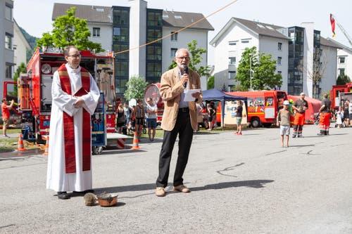 Pfarrer David Blunschi und Gemeindepräsident Gregor Schwander.