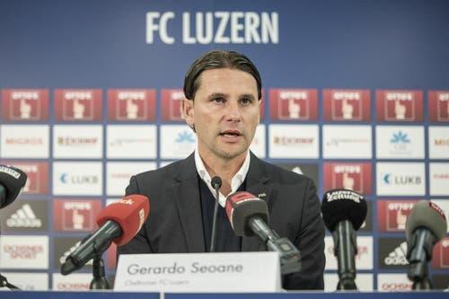 Mitte Januar 2018 stellte der FC Luzern dann Gerardo Seoane als neuen Cheftrainern vor. (Bild: Pius Amrein)