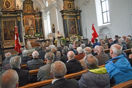 Gottesdienst mit Ehrenpredigt von Diakon und Feldprediger Elmar Rotzer in der Pfarrkirche Dallenwil. (Bild: Robert Hess)
