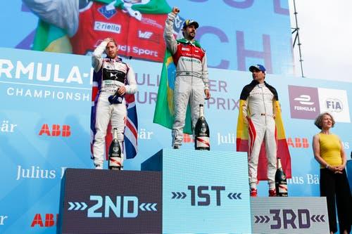 Lucas Di Grassi (BRA) gewinnt das Rennen vor Sam Bird (GBR) und Jerome d'Ambrosio (BEL). (Bild: Marc Schumacher / Freshfocus (Zürich, 10. Juni 2018))