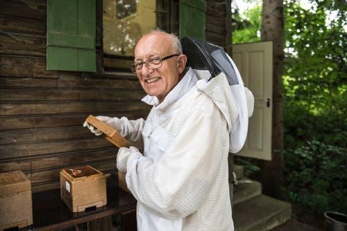 Ohne Schutzkleidung wird's schmerzhaft: Dennoch gehören Bienenstiche zum Alltag des Imkers dazu.