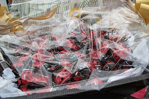 Für die Schulkinder gab es nach ihren Darbietungen einen Korb voll Schokoladeglückskäfer. (Bild: Martin Knöpfel)