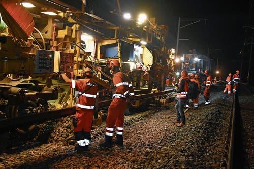 Der 100 Tonnen schwere Gleisbauzug Puma 90 bei der Arbeit. (Bilder: Thomas Güntert)