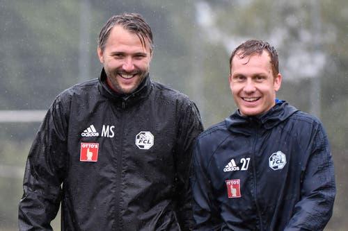 Assistenztrainer Michael Silberbauer (links) und Christian Schwegler (Bild: Martin Meienberger / Freshfocus (Luzern, 13. Juni 2018))