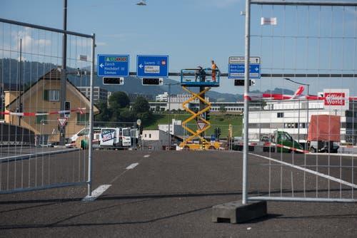 Die letzte Brücke beim Seetalplatz wird am Wochenende eingeweiht und erstmals befahrbar sein. (Dominik Wunderli 24.08. 2017)