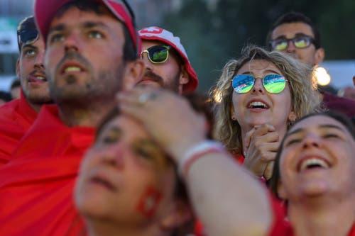 Schweizer Fans während des hochspannenden Spiels. (KEYSTONE/Martial Trezzini)