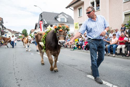 Festumzug am Jodlerfest Schötz. Im Bild Leitung Festumzug und Tombolapreise. Bild: Manuela Jans-Koch. Schötz 24.Juni 2018)