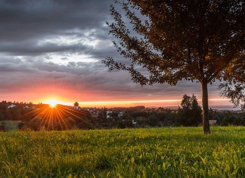 Wunderschöner Sonnenuntergang mit kräftigen Farben bei Berg SG. (Bild: Marc Bollhalder)