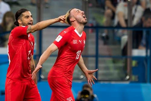 Josip Drmic trifft zum 2:2. (Bild: Vadim Ghirda / AP)