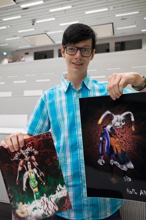 Roman Fidler, Schüler der Kreisschule Thierstein West (SO), hat mit seinen Comiczeichnungen den Publikumspreis gewonnen. (PD)