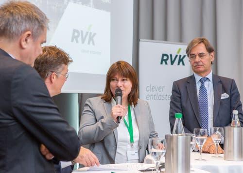 Verena Nold, Direktorin des Krankenkassenverbands Santésuisse, während des Podiums in Luzern. (Bild: RVK/Monique Wittwer, 29. Juni 2018)
