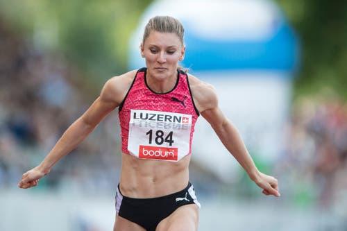 Ajla Del Ponte vom ST Bern läuft im B-Final über 100m in 11,46 als Dritte ins Ziel. (Bild: Urs Flüeler / Keystone (Luzern, 9. Juli 2018))