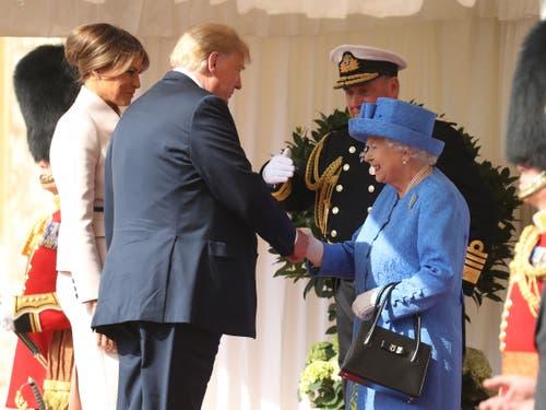 Queen Elizabeth II. hat US-Präsident Donald Trump und First Lady Melania auf Schloss Windsor empfangen. (Bild: Chris Jackson/Getty Images)