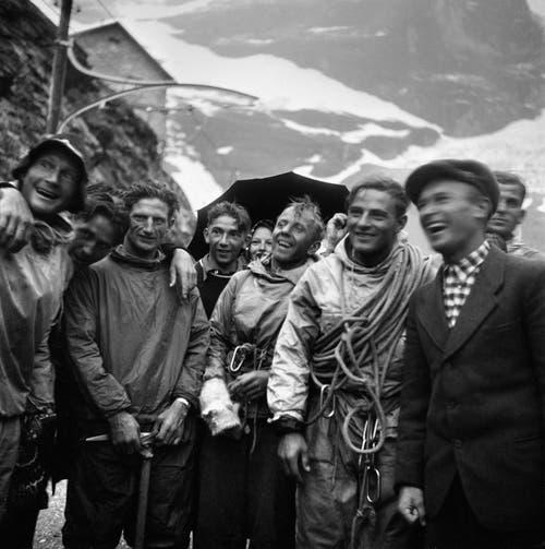 Die Alpinisten gelangten mit der ersten Direktdurchsteigung im Juli 1938 zu Weltruhm.(Bild: Keystone/ Photopress-Archiv/ Str)