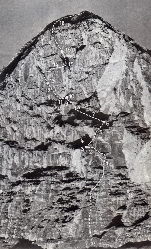 Die Route der Erstbesteigung der 1800 Meter hohen Eigernordwand im Berner Oberland. (Bild: Keystone/ Photopress-Archiv/ Str)