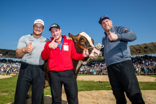 Christian Schuler, Joel Wicki und Christian Stucki (von links) freuen sich über den Festsieg. (Bild: Philipp Schmidli)