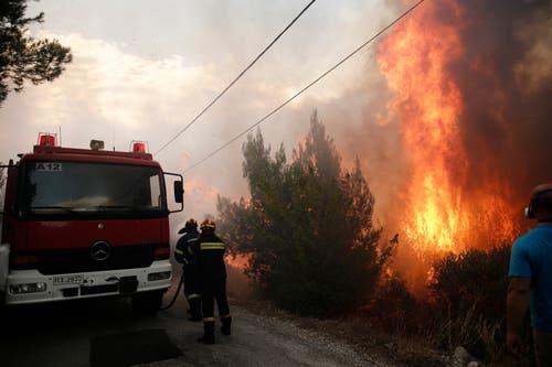 Feuerwehrmännder versuchen in Neo Voutsa, einem Vorort von Athen, ein Waldbrand zu löschen. (Bild: EPA/ Alexandros Vlachos (23. Juli 2018))