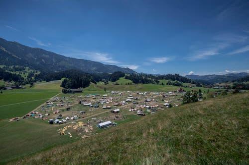 So sah das «Lupiter18-Gelände» am Freitagnachmittag aus. Ein paar Zelte standen noch. (Bild: Pius Amrein. Escholzmatt, 27. Juli 2018)