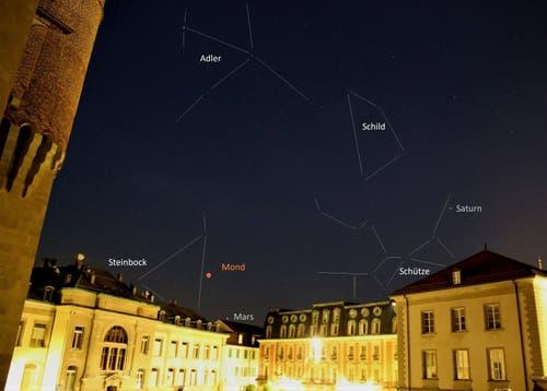 Place du Château in Lausanne. Linien der Sternbilder eingezeichnet. (Leserbild: Roger Getzmann)