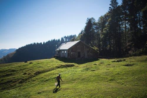 Die Alp Gubel liegt oberhalb von Ebnat Kappel auf rund 1200 Metern, die Familie Alder aus Hemberg bewirtschaftet sie bereits in fünfter Generation. (Bild: Benjamin Manser)
