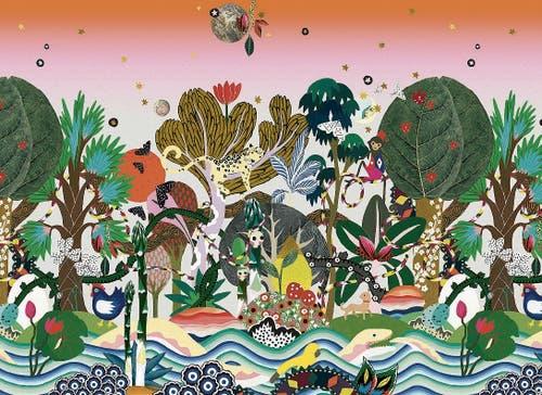 Nach einer Reise nach Sri Lanka entstand diese Urwald-Landschaft. Die Tapete schmückt nun Kinderzimmer. (Bild: Annina Arter)