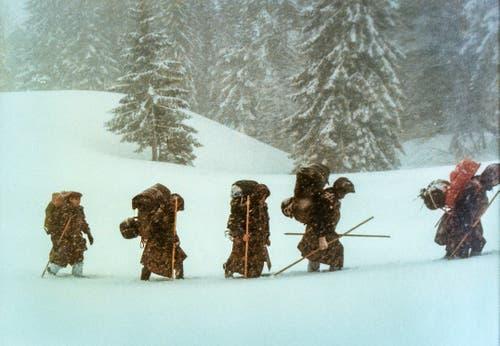 Ausdauertraining im Schnee, Teil 1. (Bild: Michel Canonica/Privatarchiv Beat Cina)