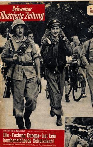 Die Notlandung des ersten US-Langstreckenbombers in der neutralen Schweiz war 1943 ein nationales Medienthema, das es sogar auf die Titelseite der «Schweizer Illustrierten Zeitung» (der heutigen «Schweizer Illustrierten») schaffte. (Bild: Sammlung Reto Voneschen)