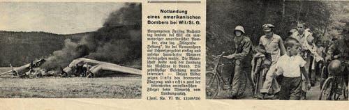 Ein Zeitungsartikel über die Notlandung in der Thurau bei Wil. (Bild: Annina Rütsche)