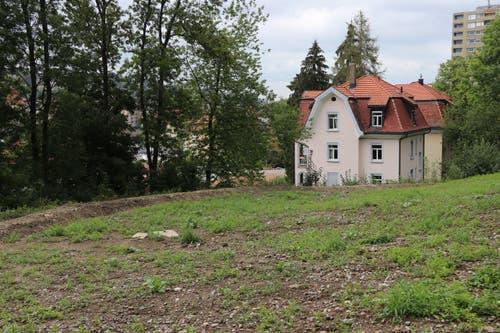 Das Haus mit dem markanten Dach direkt an der Bahnlinie steht auch 120 Jahre später noch. Den Verlauf der Eisenbahnlinie markiert ein Entwässerungsgraben. Die auf der Ansichtskarte um 1900 sichtbare Vonwilbrücke ist heute durch Bäume verdeckt. (Bild: Reto Voneschen)