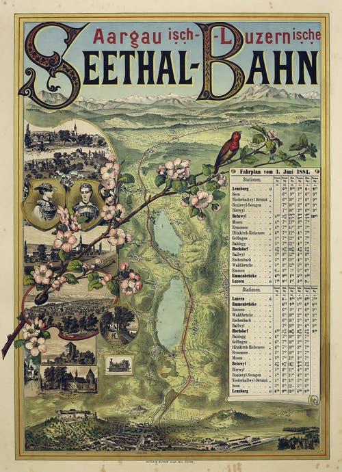 Plakat mit Fahrplan aus dem Jahr 1884.