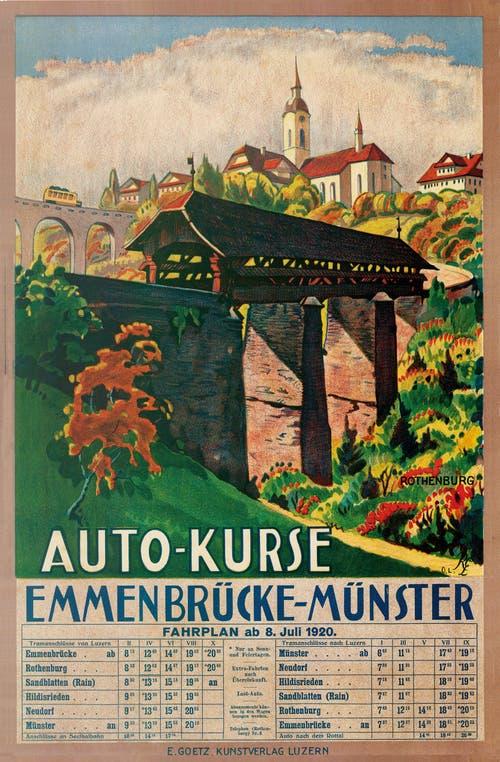 Plakat Auto-Kurse mit Fahrplan aus dem Jahr 1920.