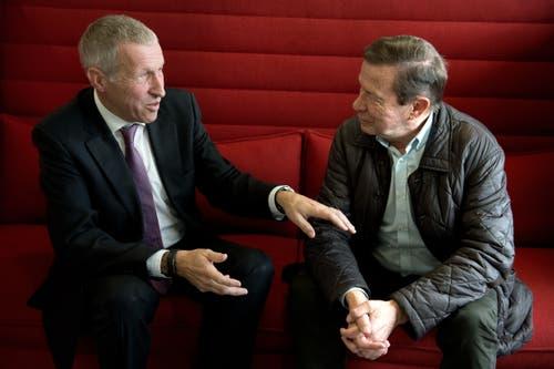 Im Februar 2016 führen Konrad Graber und Franz Steinegger ein Streitgespräch über die Gotthard-Abstimmung. (Bild: Nadia Schärli)