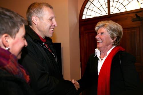 Konrad Graber und Helen Leumann während den National- und Ständeratswahlen im Oktober 2007 in Luzern. Konrad Graber wird als Luzerner Ständerat gewählt. (Bild: Nadia Schärli)
