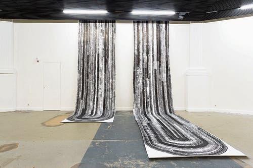 Tuschezeichnungen von Claudia Kübler in der Kunsthalle Luzern. (Bild: Kilian Bannwart/PD)