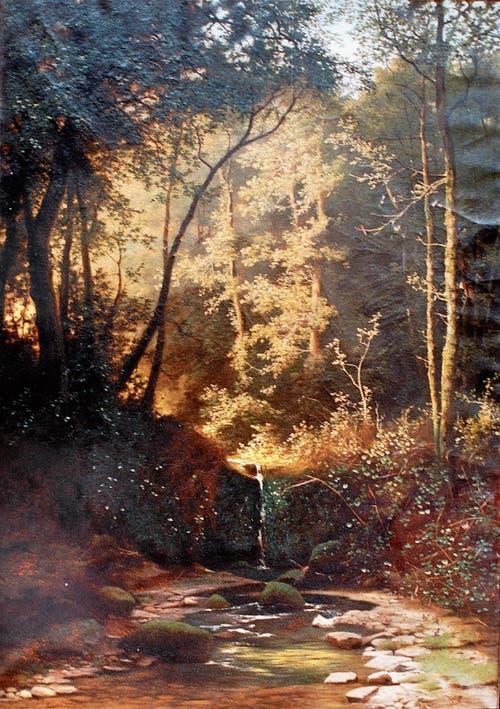 «Abendlicher Sonnenblick nach dem Regen, im Walde», titelte der Künstler dieses Bild.