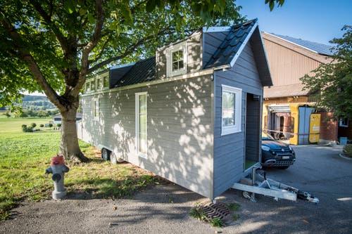 Dies ist ein Muster-Tiny-House, das auf Anfrage besichtigt werden kann.