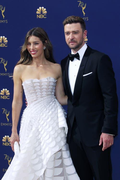 Schauspielerin Jessica Biel und ihr Mann Sänger Justin Timberlake. (Bild: EPA/Nina Prommer, 17. September 2018)