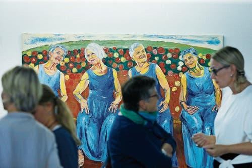 In der Galerie Malte Frank stellt Sussi Hodel ihre Bilder aus. (Bild: Stefan Kaiser (Zug, 1.September 2018))