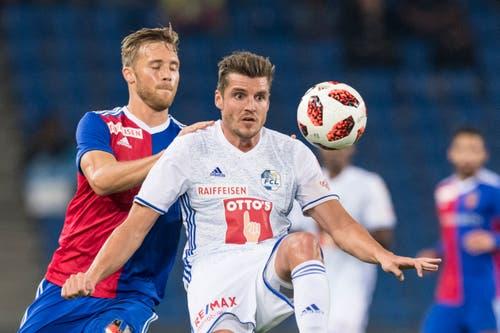 Luzerns Pascal Schürpf, rechts, kämpft um dem Ball mit Basels Silvan Widmer. (Bild: KEYSTONE/Alessandro della Valle)