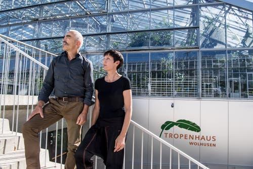 Sind seit der ersten Stunde mit dabei: Pius Marti, Geschäftsführer des Tropenhauses und Monika Leuenberger, Restaurationsfachfrau. (Bild: Nadia Schärli, 27. September 2018)