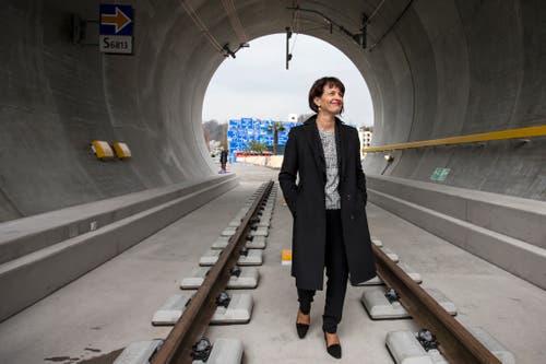 Doris Leuthard besucht die Sonderausstellung «Neat – Tor zum Süde» im Verkehrshaus. (Bild: Alexandra Wey (Luzern, 23. März 2016))