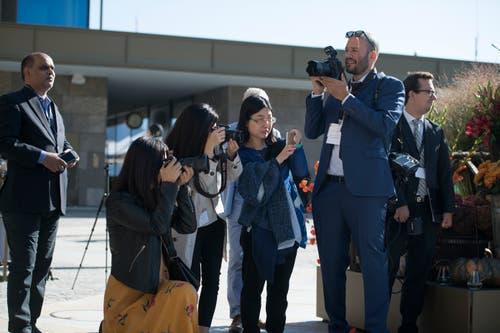 Medienschaffende aus aller Welt verfolgen die Eröffnung. (Bild: Corinne Glanzmann (Bürgenstock, 28. September 2018)