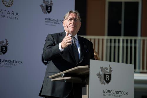 «Ich freue mich, das Bürgenstock Resort heute offiziell zu eröffnen», sagt Bruno H. Schöpfer. (Bild: Corinne Glanzmann (Bürgenstock, 28. September 2018))