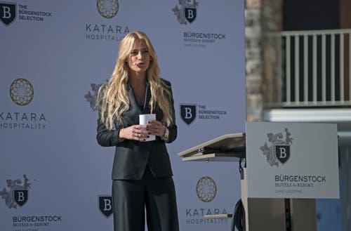 Moderatorin Christa Rigozzi am Grand Opening des Bürgenstock Hotels & Resort Lake Lucerne. (Bild: Corinne Glanzmann (Bürgenstock, 28. September 2018))