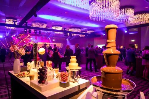 Das Dessert: Ein Schokoladen-Fondue-Turm. (Bild: Philipp Schmidli, 28. September 2018)