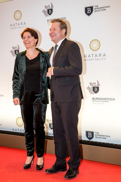 Kam mit seiner Frau: der Luzerner Finanzdirektor Marcel Schwerzmann. (Bild: Philipp Schmidli, 28. September 2018)